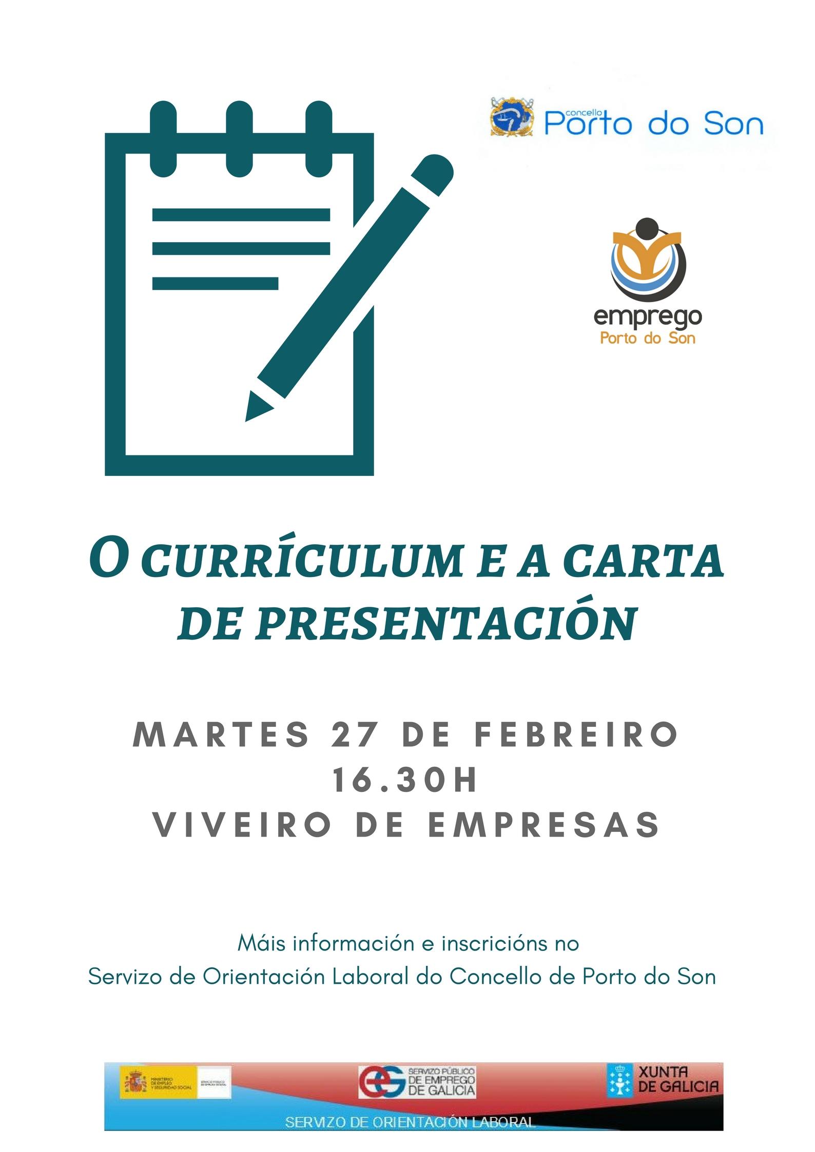 Cartel xornada currículum e carta de presentación
