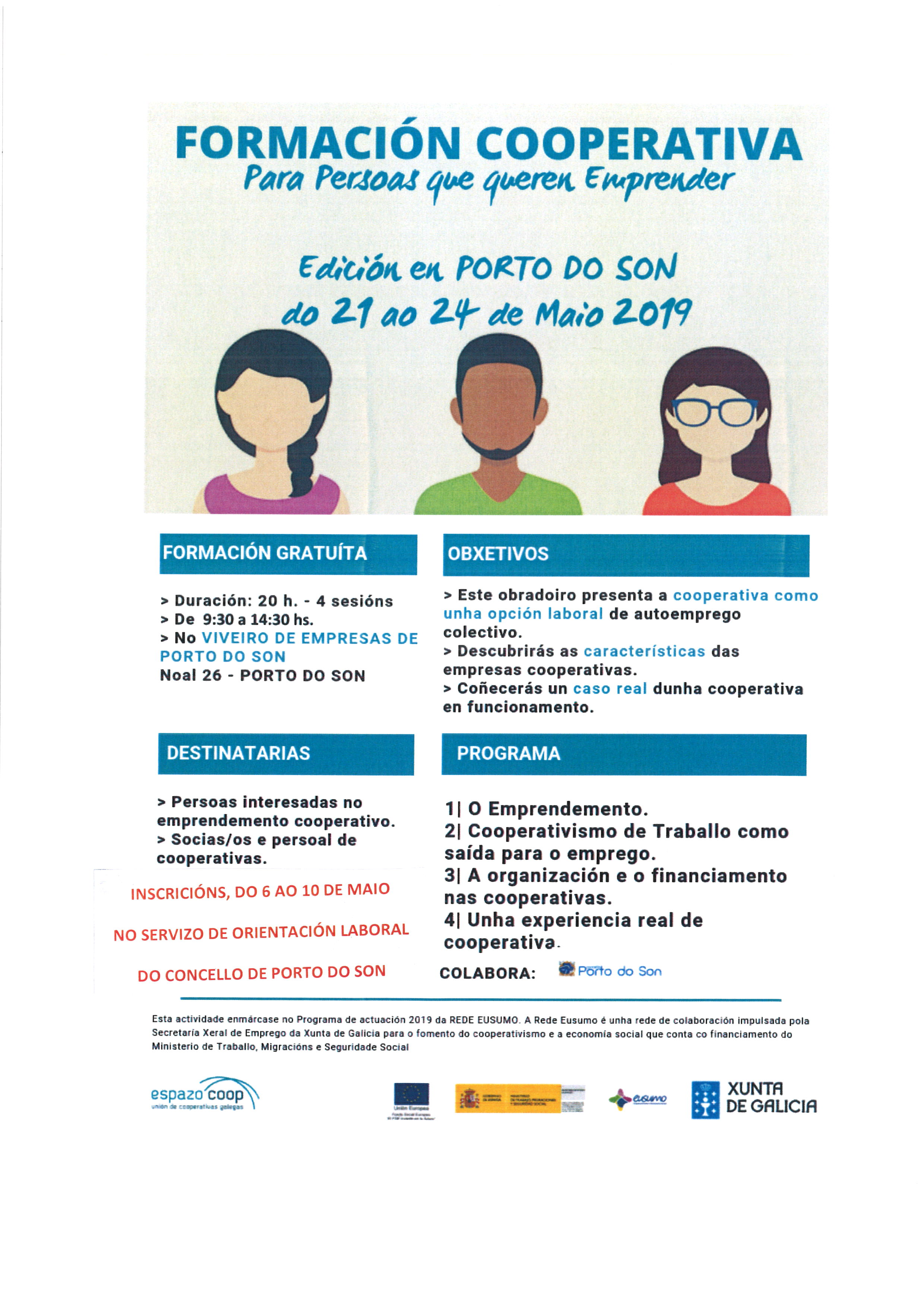 cartel formación cooperativa maio 2019