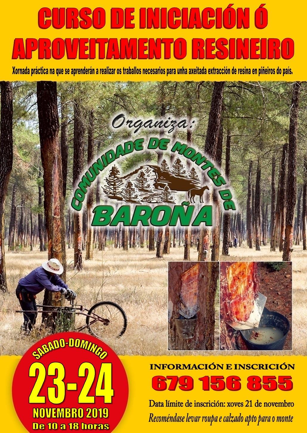 Cartel curso resina Baroña (novembro 2019)