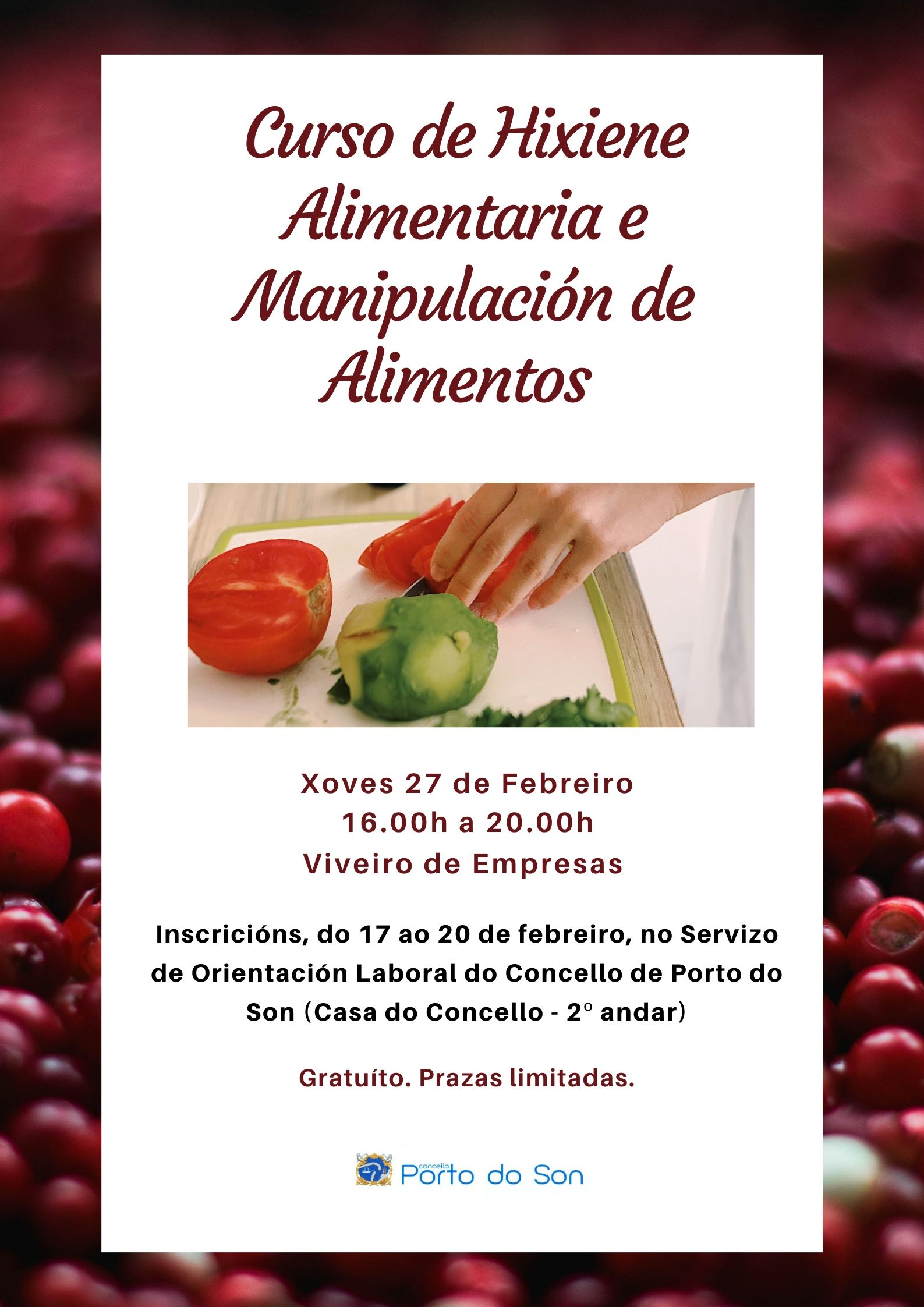 Cartel Curso de Hixiene Alimentaria e Manipulación de Alimentos