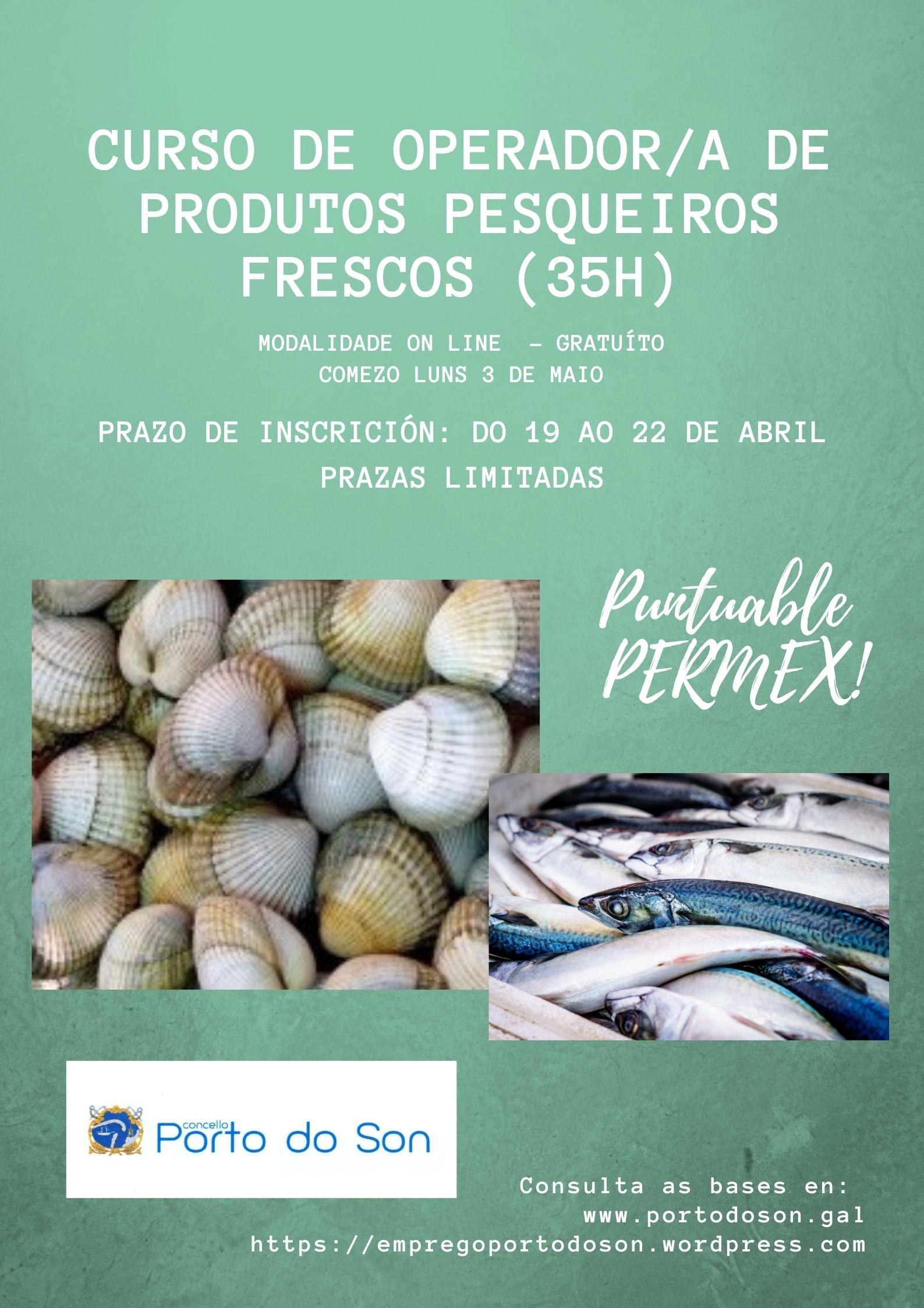 cartel curso productos pesqueiros frescos