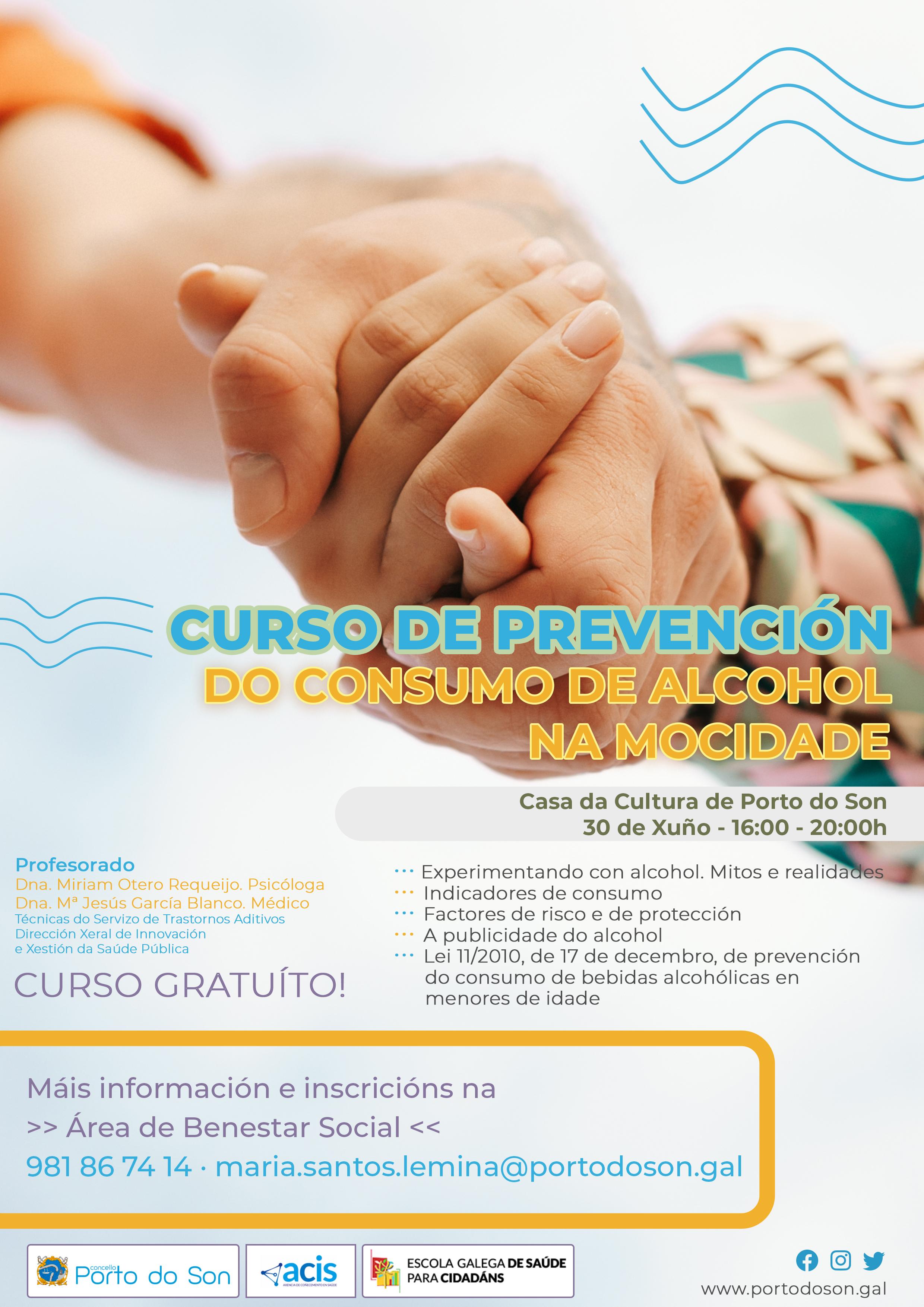 Concello de Porto do Son Benestar Social Curso de prevención do consumo de alcohol na mocidade
